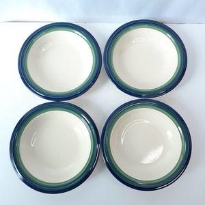 """Pfaltzgraff Set of 4 Ocean Breeze Rim Soup Bowls 8.25"""" Cream Blue Green"""